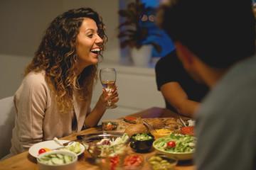 Enjoying good wine and friends