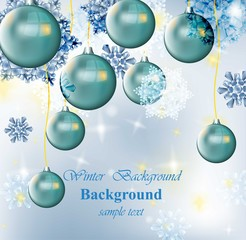 Winter card with Christmas balls and snowflakes. Blue frost ice background