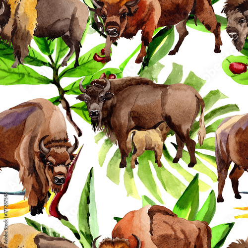 Exotic Bison Wild Animal Pattern In A Watercolor Style Full Name Of