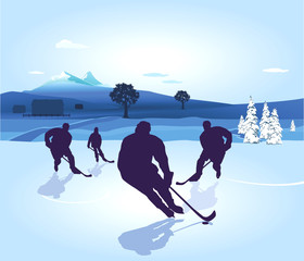 Hockeyspiel am See
