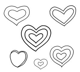 Hand drawn hearts. Design elements for Christmas and Valentine's day.