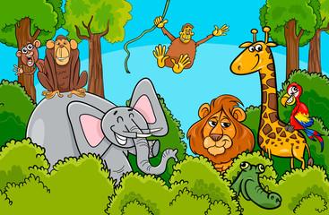 cartoon wild animal characters group