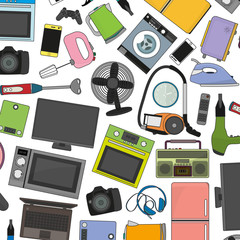 vector icon set of hand-drawn home appliances