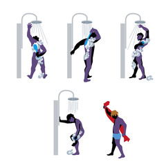 Vector illustration of men taking a shower in a public bathroom.