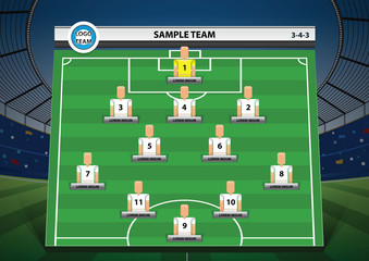 graphic football team starting lineup squad
