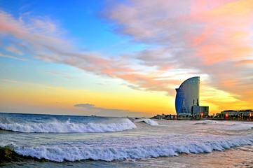 Foto op Canvas Barcelona Barcelona beach on sunset
