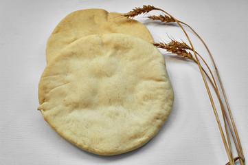 pita bread on white background