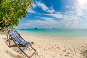 Fototapete - Beach chair on perfect tropical sand beach, Phi Phi Island, Thailand