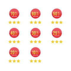Set red sale sticker with yellow stars. Template of the emblem with special offer flat vector eps 10