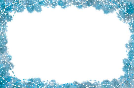 Vector  fir tree border and decorations isolated.