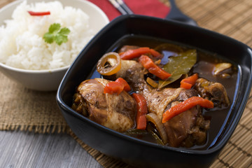 Chicken thighs in sauce Adobo. National filipino dish.