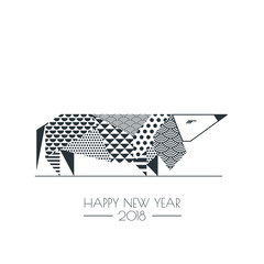 Vector black white illustration of dachshund dog with abstract geometric triangle texture. Creative New Year greeting card, poster, banner design elements. Chinese calendar decoration.