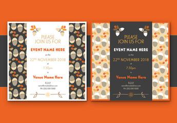 Oak Leaf and Acorn Event Invitation Layouts 1