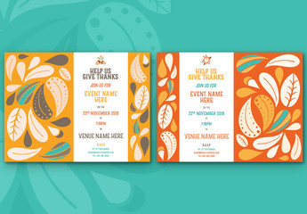 Abstract Leaf Event Invitation Layouts 3