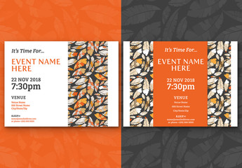 Feather Pattern Event Invitation Layouts