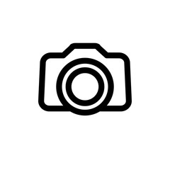 Camera icon, flat vector graphic on isolated background.