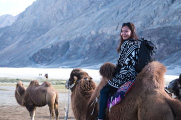 A beautiful Asian tourist woman riding camel in the Hunder desert , Ladakh India