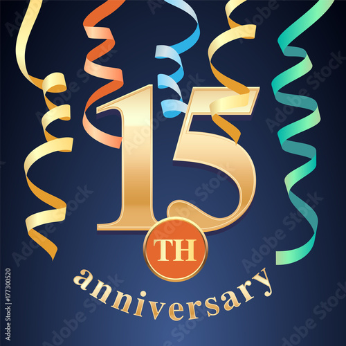 15 Years Anniversary Celebration Vector Icon Logo Template Design