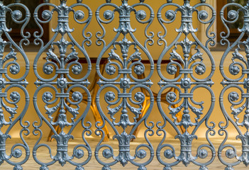 Wrought iron ornamental fence front view in Sochi Arboretum, Russia
