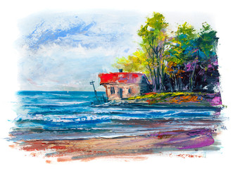 Fisherman's house on the beach. Picture.