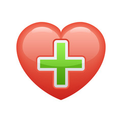 Heart & Cross - Novo Icons. A professional, pixel-aligned icon designed on a 32 x 32 pixel grid and redesigned on a 16 x 16 pixel grid for very small sizes.
