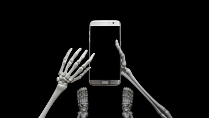Skeleton Looking Down Using Cell Phone