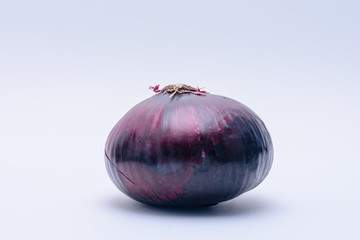 Red onion isolated on white background with room for text
