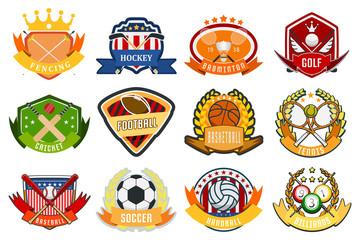 Sport game team logo play tournament label champion emblem league competition symbol vector illustration.