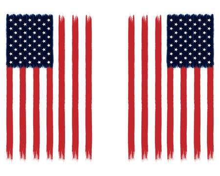 Painted American Flags - USA Stars and Stripes Vertical