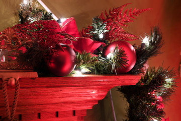 Christmas Decorations on Fireplace Mantle