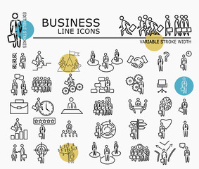 Business icons with minimal nodes and editable stroke width