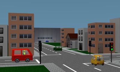 Straßenkreuzung mit Ampel, Autos, Häusern und Fabrik.
