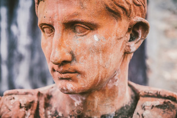 Ceramic Bust of an Antique Roman Characther, Italian Terracotta