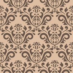 Seamless beige pattern with brown wallpaper ornaments