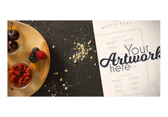 Menu on Table with Food Mockup 11