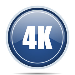 4k blue round web icon. Circle isolated internet button for webdesign and smartphone applications.