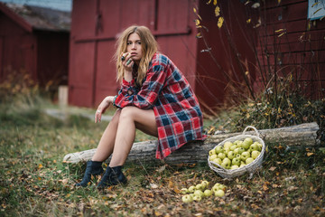 hippie girl with apples