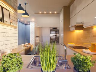 3d illustration kitchen interior design in white color. Modern studio apartment in the Scandinavian minimalist style