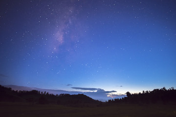 Long exposure and High ISO (800) shot of star and milky way over the silhouette mountain and rice field at dusk time to night.
