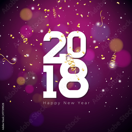 vector happy new year 2018 illustration on shiny lighting blue background with typography