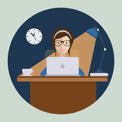 Woman studying in front of computer at night. Flat vector.