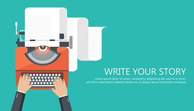 Write your story business banner for journalism. Flat vector illustration