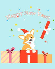 Christmas card with cheerful puppy corgi. New Year of the dog. Vector illustration