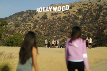 People view the Hollywood sign in Hollywood