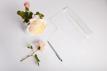 Flat lay shot of letter and white envelope on white background with pink english rose. Invitation cards or love letter. Birthday, Mother's, Valentines, Women's, Wedding Day concept, top view, overhead