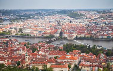 Panoramic aerial view of Prague. Charles Bridge