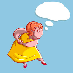 Colorful vector illustration of a overweight lady thinking or dreaming