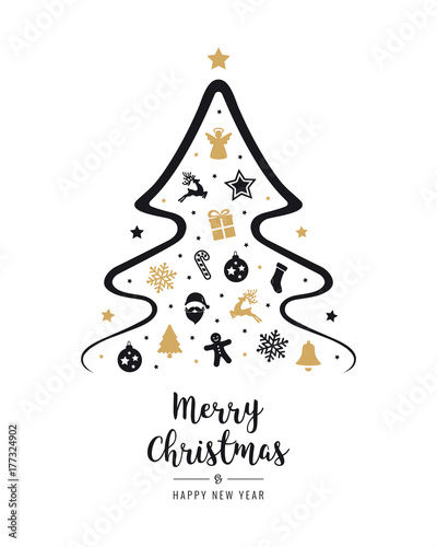 Merry Christmas Images Black And White.Merry Christmas Tree Greeting Text Elements Card Golden