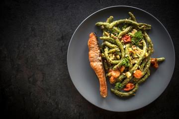 Salmon and spinach spaghetti..