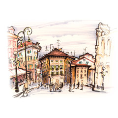 Typical Italian houses near Arena di Verona on the square Piazza Bra, Verona, Italy. Picture made markers